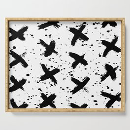 X Paint Spatter Black and White Serving Tray