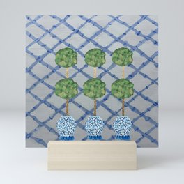 Blue Lattice Ginger Jars Topiary  Mini Art Print