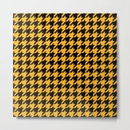 Houndstooth: Black & Gold Checkered Design Metal Print