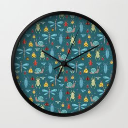 Little Bugs and Mini Beasts on Teal Wall Clock