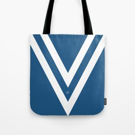 Blue V Abstract Retro Design Tote Bag
