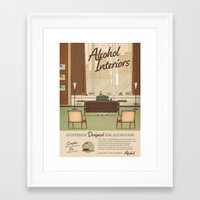 alcohol Framed Art Prints featuring Alcohol Interiors by Daniel long Illustration