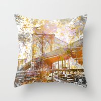 brooklyn bridge Throw Pillows featuring Brooklyn Bridge by LebensART