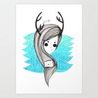 antlers Art Prints featuring antlers by Olga M.