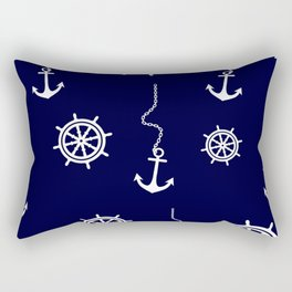 Nautical Navy Pattern with Anchors and Steering Wheels Rectangular Pillow