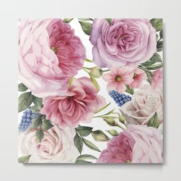 WATERCOLOR ROSES Metal Print