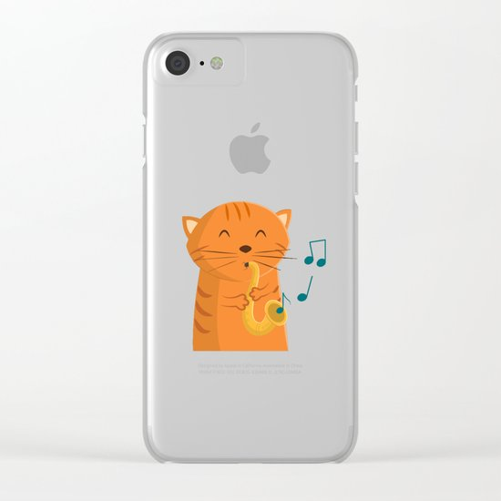 Jazz Cat Clear iPhone Case