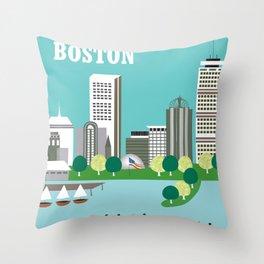 Boston, Massachusetts - Skyline Illustration by Loose Petals Throw Pillow