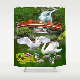Swans and Baby Cygnets in an Oriental Landscape Shower Curtain