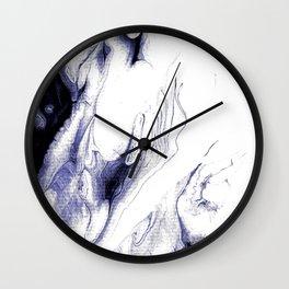 Indigo, black & white abstract I Wall Clock