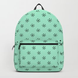 Black on Magic Mint Green Snowflakes Backpack