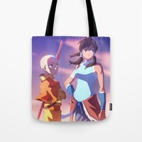aang Tote Bags featuring Avatar Tribute | Aang and Korra by moxie2D