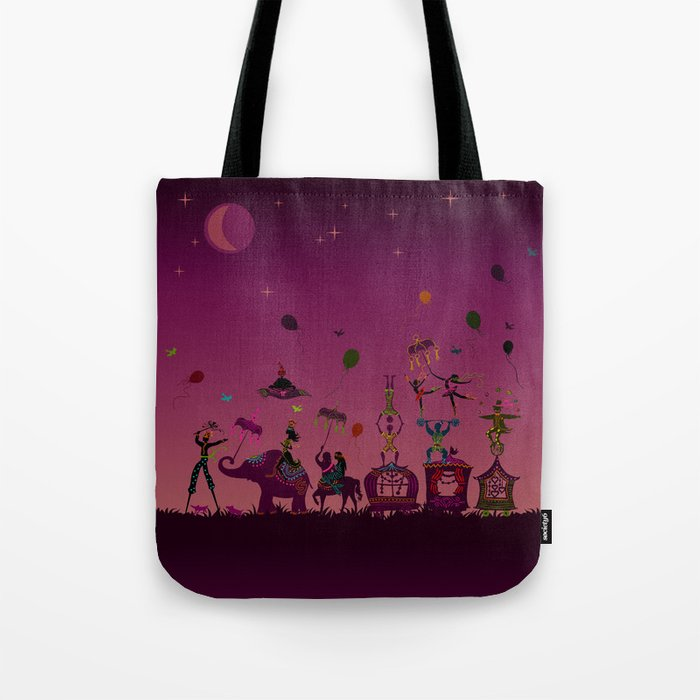 colorful circus carnival traveling in one row at night Tote Bag