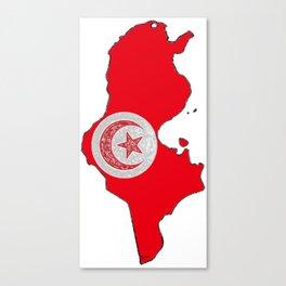 Tunisia Map with Tunisian Flag Canvas Print