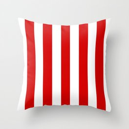 Rosso corsa red - solid color - white vertical lines pattern Throw Pillow