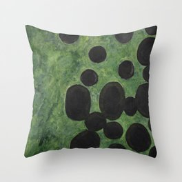 Black Points above Green Throw Pillow