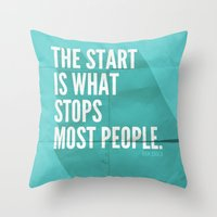 sayings Throw Pillows featuring The Start by Zeke Tucker