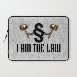 I am the law / 3D render of section sign holding judges gavels Laptop Sleeve