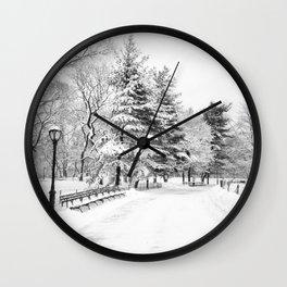 New York City Winter Trees in Snow Wall Clock