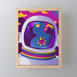 Heart Driven Path/Astronaut Illustration/Landscape Framed Mini Art Print