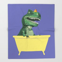 Playful T-Rex in Bathtub in Purple Throw Blanket