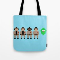 ghostbusters Tote Bags featuring Ghostbusters by Pixel Icons