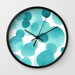 Aqua Bubbles: Abstract turquoise watercolor painting Wall Clock