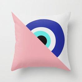 Devil eye pink hide Throw Pillow