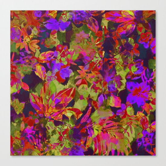 colorful floral with purple accent Canvas Print