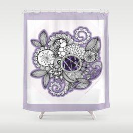 Pretty in Purple Zentangle Design Illustration Shower Curtain