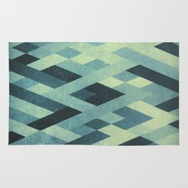 Abstract Pattern in Blue Rug