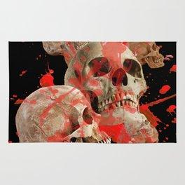 MACABRE BLOOD & SKULLS BLACK  ART Rug