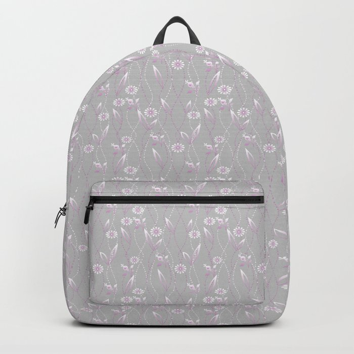 Gray lilac floral pattern . Backpack