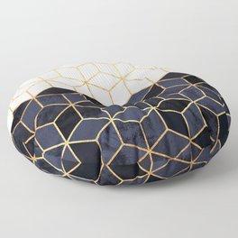 White & Navy Cubes Floor Pillow