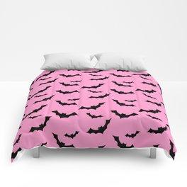 Black Bat Pattern on Pink Comforters