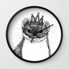 flapper weasel wearing a glittering tiara Wall Clock
