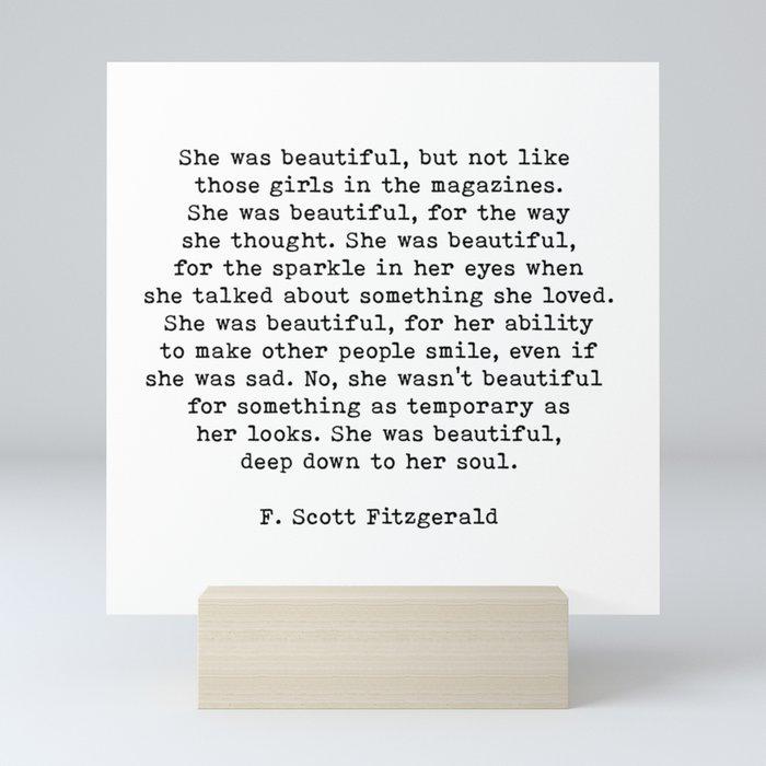 She Was Beautiful, F. Scott Fitzgerald, Quote Mini Art Print