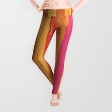 Orange and Yellow Stripes and Lines Abstract Leggings