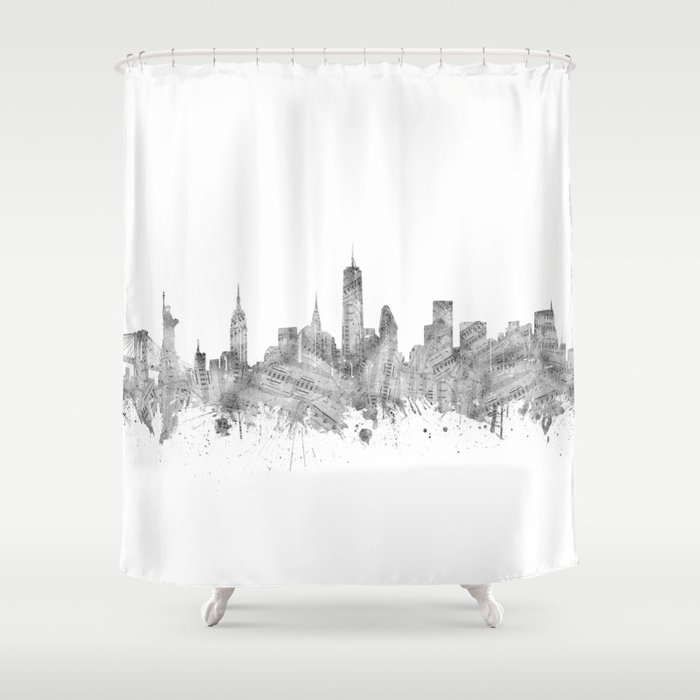 New York Skyline Music Shower Curtain