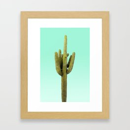 Cactus on Cyan Wall Framed Art Print