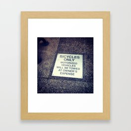 bicycles only Framed Art Print