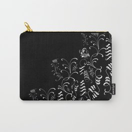 Delicate and Abstract Black and White Leaf Decor Carry-All Pouch