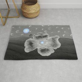 Blue Moon and poppy Rug