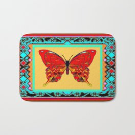 Southwestern Style Design With Red-gold Swallow Tail Butterfly Bath Mat