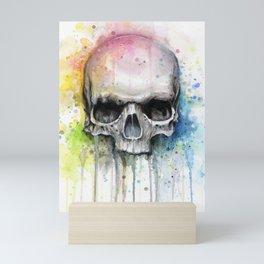 Skull Rainbow Watercolor Mini Art Print