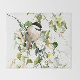 chickadee and dogwood Throw Blanket