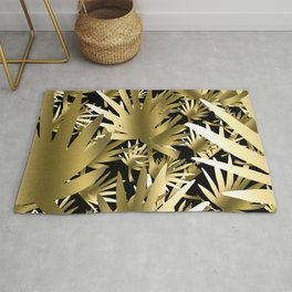 Modern color gold black tropical abstract leaves Rug