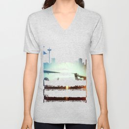 Sea-Tac At Sunset Unisex V-Neck