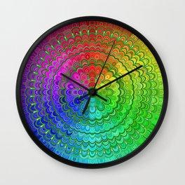 Rainbow Flower Mandala Wall Clock