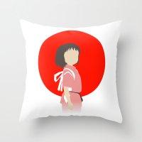 chihiro Throw Pillows featuring Chihiro by adovemore